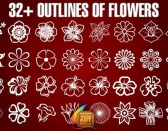 Vector Outlines Of Flowers Flower Vector Art