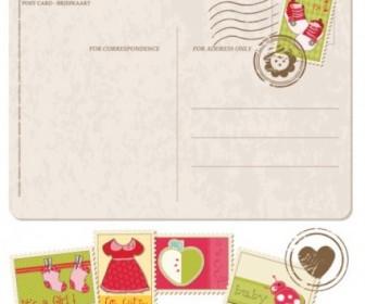 Vector Postcards Stamps With 01 Cartoon Vector Art
