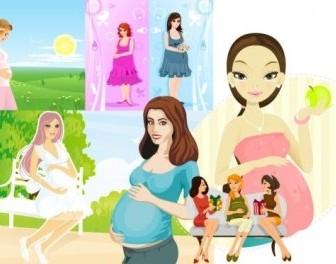 Vector Seven Pregnant Women People Vector Art