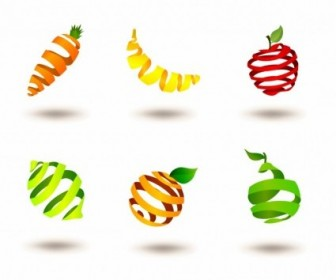 Vector Striped Fruits Icon Vector Graphics