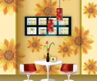 Vector Stylish Wallpaper Chandelier Home Decor Vector Art