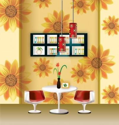 Vector Stylish Wallpaper Chandelier Home Decor Vector Art Ai Svg Eps Vector Free Download