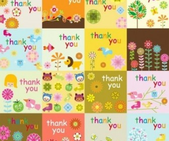 Vector Super Cute Thank You Card Vector Art