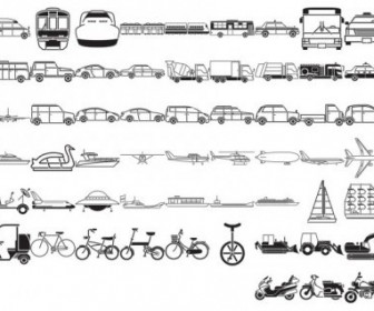 Vector Various Of Silhouette Traffic Class 57 Elements Silhouettes Vector Graphics