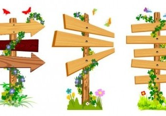 Vector Vine Wood Signs Vector Art