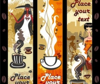 Vector Women And Coffee Theme Vector Art