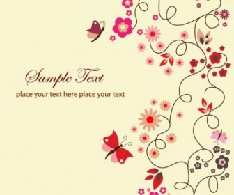 Vector Floral Greeting Card vector template