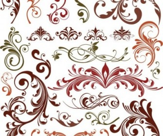 Floral Design Elements Vector Decoration Set