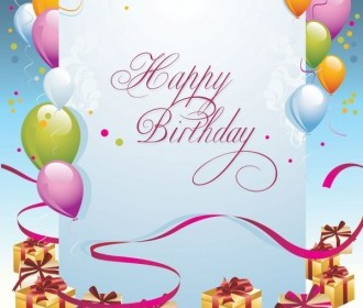 Happy Birthday Postcard Background Vector
