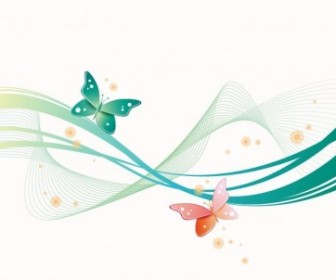 Abstract Wave With Butterfly Vector Background