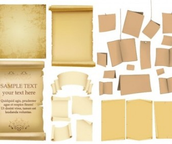 Variety Of Old Paper Vector Background