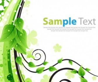 Free Green Floral Greeting Card Vector Plant