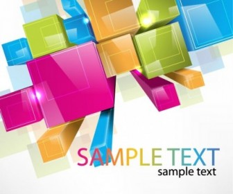 Free Colorful 3D Cubes Vector Background