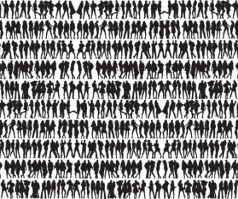 Big Collection Of People Silhouettes Vector People
