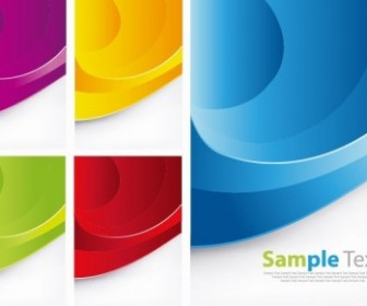 Free Colorful Waves Vector Background Set