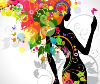 Colorful Floral Girl Silhouette Vector Background