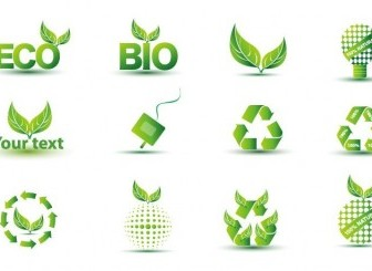 Green Eco Icon Set Vector Icon