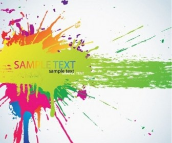 Colorful Bright Ink Splashes Vector Background
