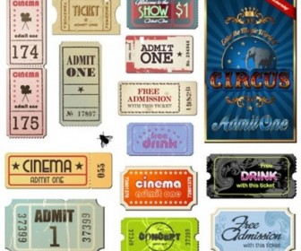 Vector Misc  Vintage Movie Ticket Vector Set