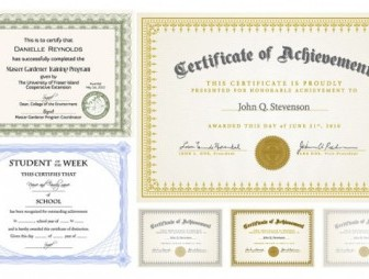 Six Certificate Design Vector illustration