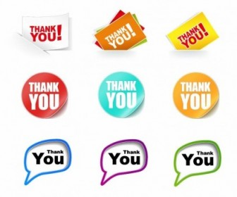 Collection ThankYou Stickers Vector Illustration