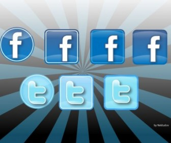 Social Icons Twitter Facebook Vector Icon