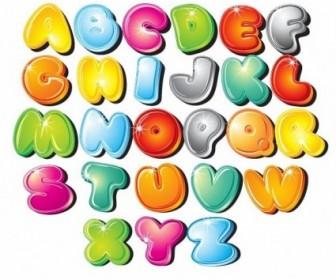 Cartoon Style Letters Vector Set