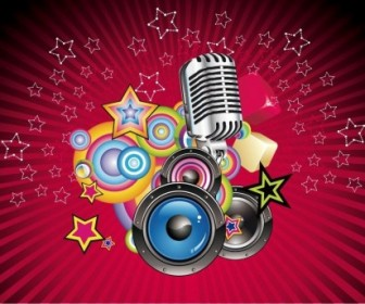 Music Background With Speaker And Microphone Vector