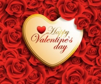 Vector Background  Vector Red Valentine Heart On Roses Background
