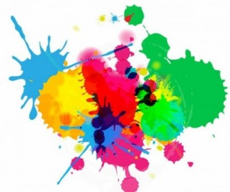 Vector Background  Colorful Bright Ink Splashes On White Background