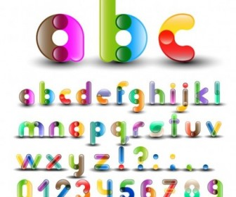 Colorful Alphabet With Numbers Vector