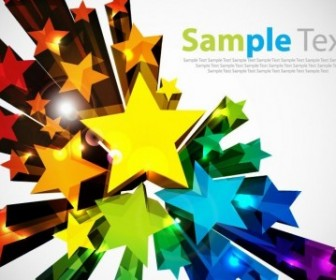 Colorful 3D Stars Vector Background Vector Background
