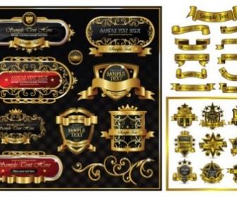 Gorgeous Gold Ribbon Pattern Vintage Label Vector