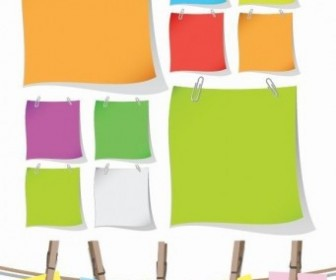 Blank Colorful Papers With Clip Vector Graphic Vector Misc