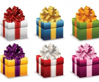 Gift Boxes Ribbon Vector Illustration