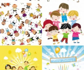 Cute Children Cartoon Characters Vector