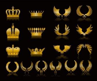 Golden Wheat Crown Vector Clip Art