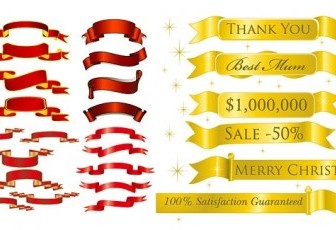 5 Sets Of Festive Ribbon Vector Banner