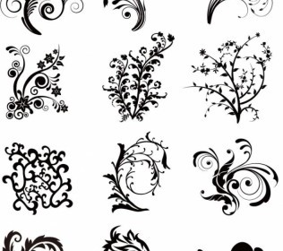 Floral Curves Vector Set Decoration