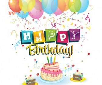 Happy Birthday Vector Card Illustration