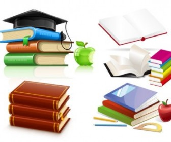 A Variety Of Clip Art Books Vector