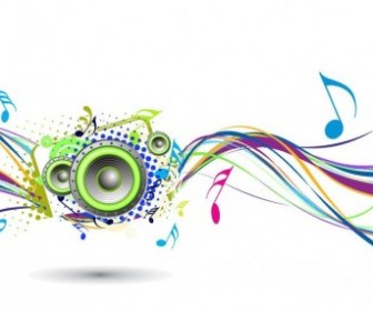 Rainbow Wave with Music Node Vector Background