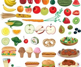 Food Fruits and Vegetables Vector Set