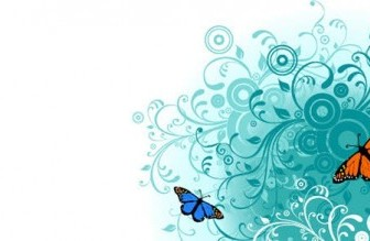 Flowers and Butterfly Vector Background