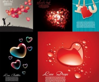 Five Beautiful Heartshaped Vector Love Theme