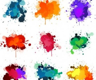 Colorful Ink Splashes Vector Pack