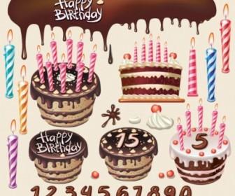 Beautiful Birthday Cake Vector Illustration