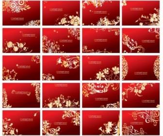 Golden Floral Business Cards Vector Pack