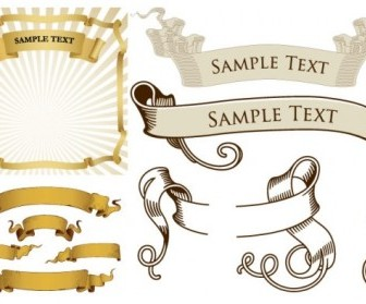 Retro Ribbon Banner Vector Pack