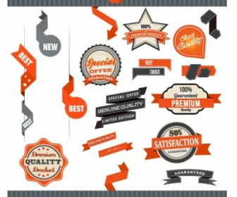 Badge and Ribbon Vector Set